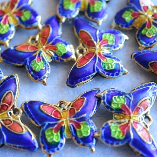 1 Cloisonne Pendant Butterfly Blue