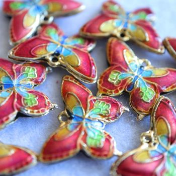 1 Cloisonne Pendant Butterfly Brown