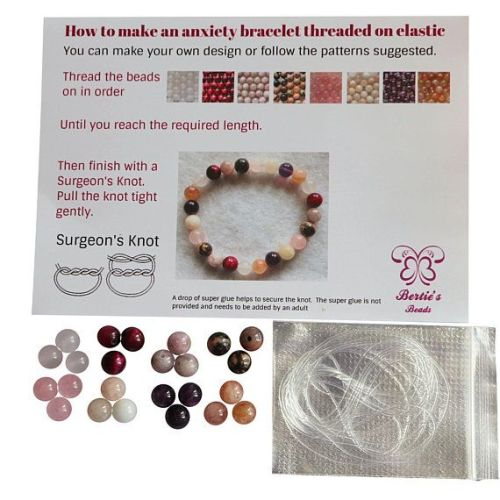 Calming Anxiety Gemstone Bracelet Pink Purple 8mm Gemstones natural genuine