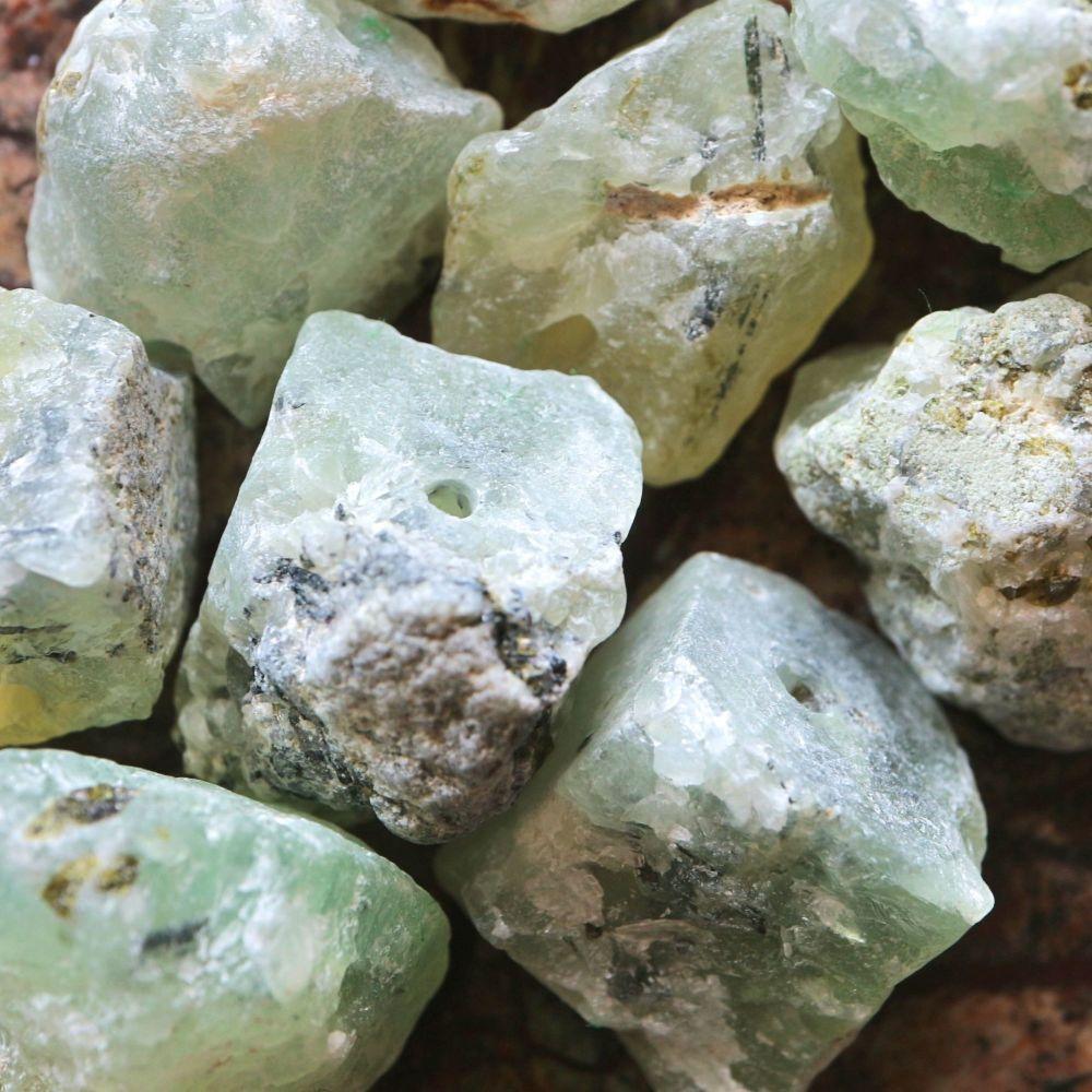 1 Natural Prehnite Nugget Bead