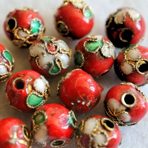 1 Handmade Cloisonne Beads Round Red