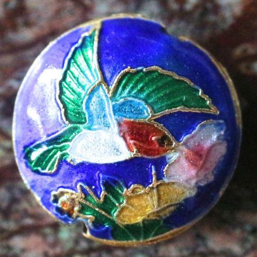 1 Handmade Cloisonne Beads Flat Round Dark Blue