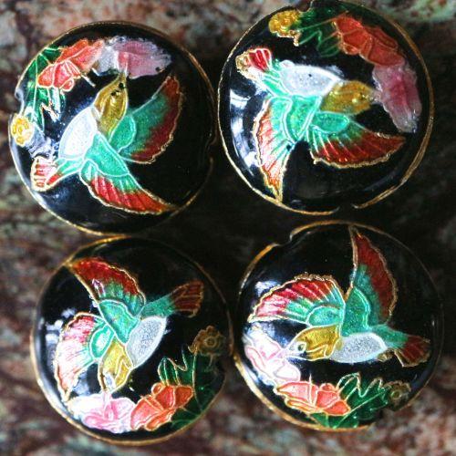 1 Handmade Cloisonne Beads Flat Round Black