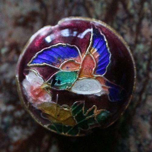 1 Handmade Cloisonne Beads Flat Round Brown