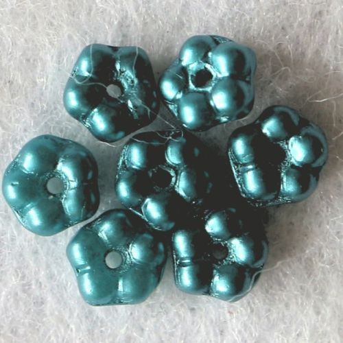 10 Picasso Forget-Me-Not Flower Turquoise Blue Glass Beads Czech Small Tiny