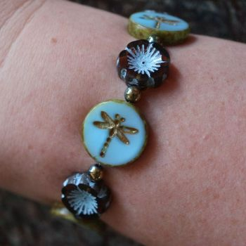 Boho Dragonfly Beaded Bracelet Jewellery using Picasso Beads Blue Brown Turquoise Flower Hippie Bohemian Gift
