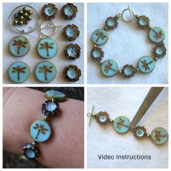 DIY Boho Dragonfly Beaded Bracelet Jewellery Making Kit using Picasso Beads Blue Brown Turquoise Flower Hippie Bohemian Gift