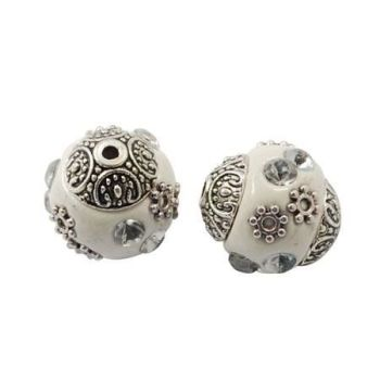 1 Handmade Indonesia Beads, with Alloy Cores, White, Oval, 14x15mm, Hole: 2mm