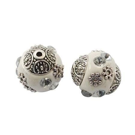 1 Handmade Indonesia Beads, with Alloy Cores, White, Oval, 14x15mm, Hole: 2