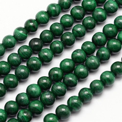 1 Natural Malachite Bead Round, 6mm, Hole: 1mm