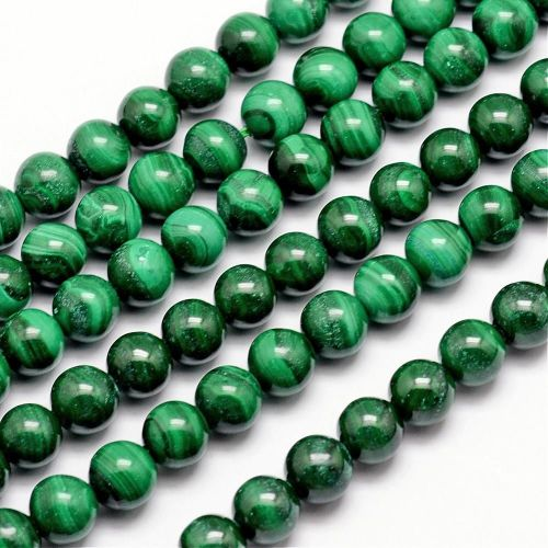 1 Natural Malachite Bead, Round, 8mm, Hole: 1mm