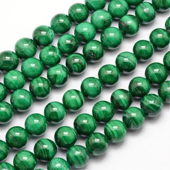 1 Natural Malachite Bead, Round, 10mm, Hole: 1mm