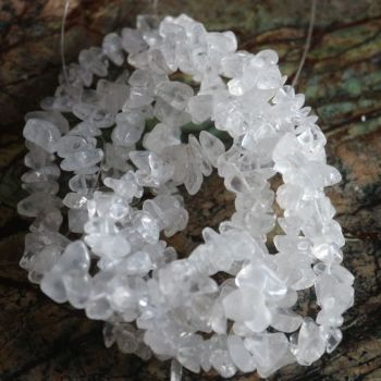 "Clear Quartz Bead Chips 31"" Strand"