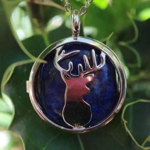 1 Natural Lapis Lazuli Deer Pendant, with Brass Diffuser Locket Findings, 3