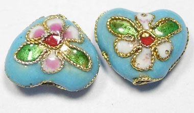 1 Handmade Cloisonne Beads Heart Light Blue