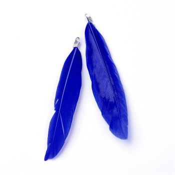 Feather Pendants - Blue x10