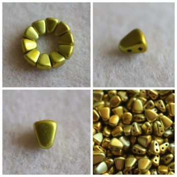1 NIB-BIT 6X5MM METALUST YELLOW GOLD bead (Nib Bit Matubo)