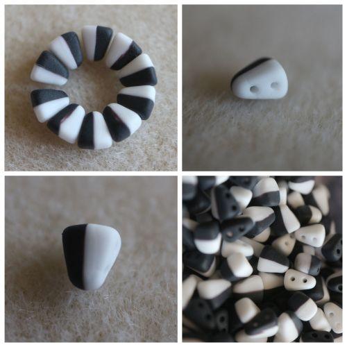 1 NIB-BIT 6X5MM DUET BLK/WHT MATT bead