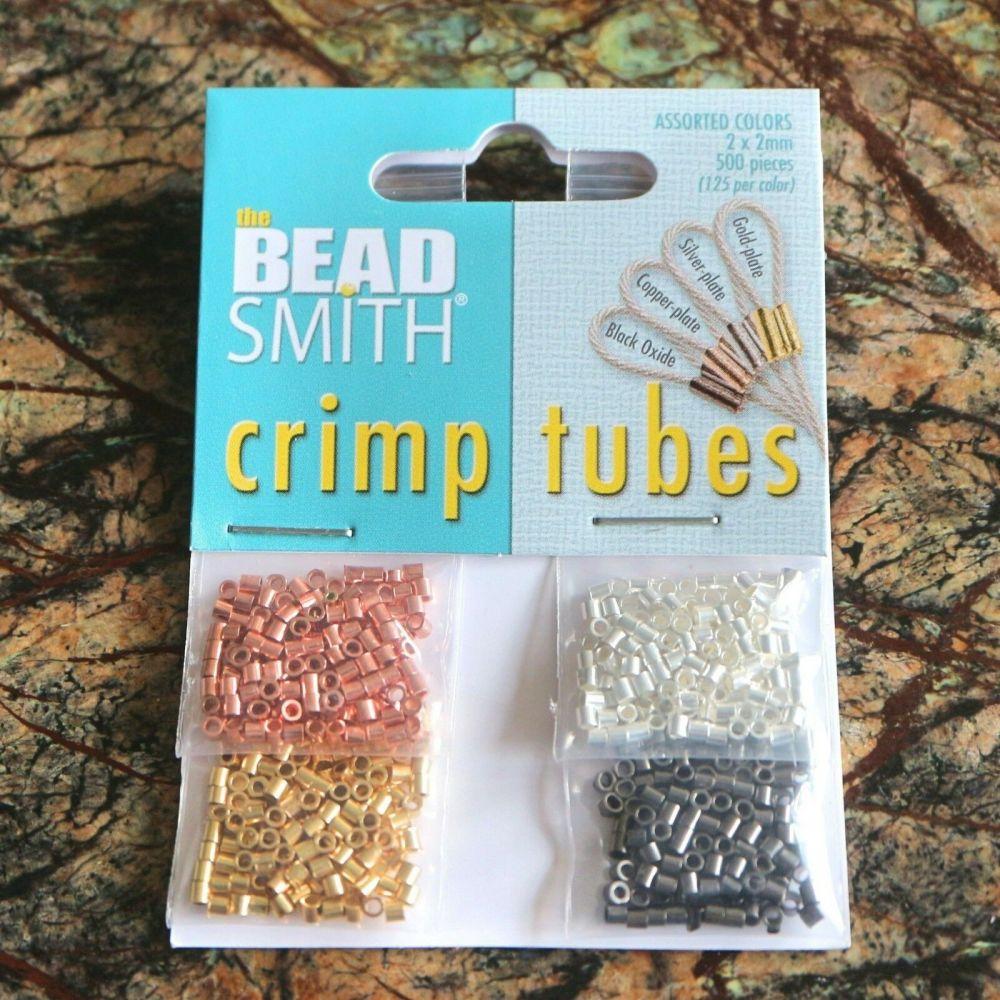 BeadSmith 4 Colours Crimp Tubes 2mm CBASST20 Gold Silver Black Oxide Copper
