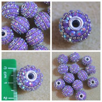 Indonesia Purple Rhinestone Bead