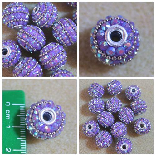 Purple Rhinestone Beads