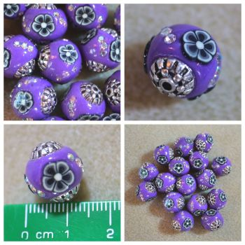 Indonesia Purple Flower Bead