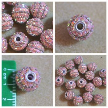 Indonesia Pink Rhinestone Bead