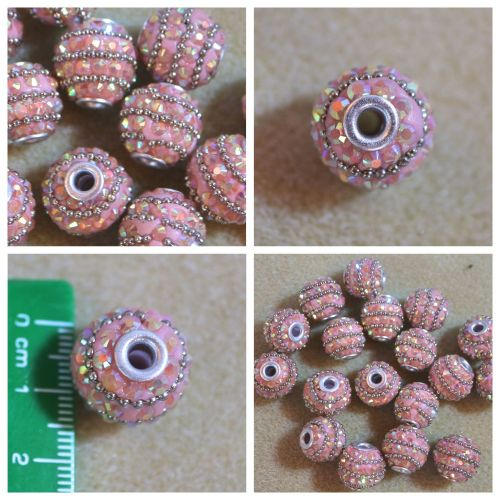 1 Pink Rhinestone Bead