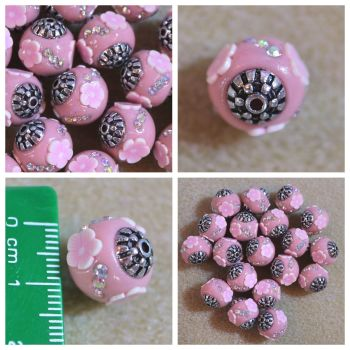 Indonesia Pink Flower Bead