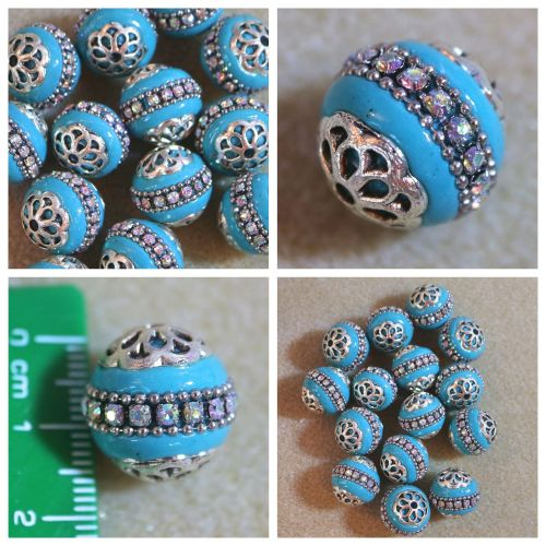 1 Blue Rhinestone Indonesia Bead