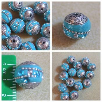 Indonesia Blue Rhinestone Bead