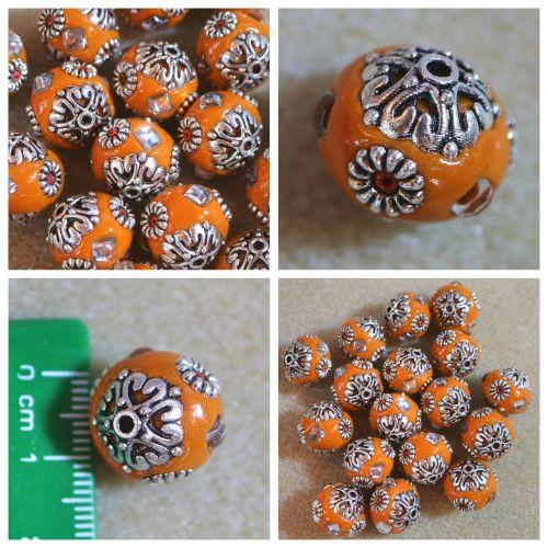 1 Orange Indonesia Bead