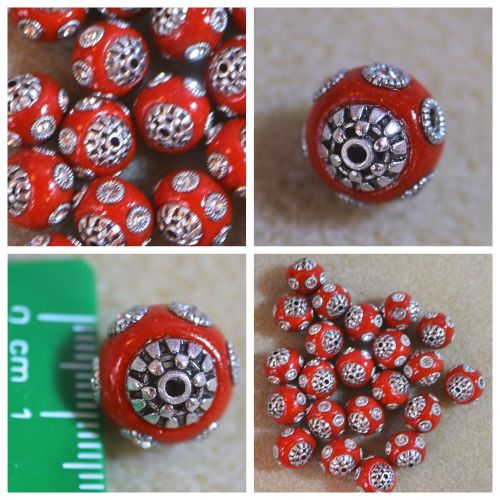 1 Red Circle Indonesia Bead
