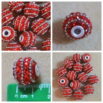 Indonesia Red Rhinestone Bead