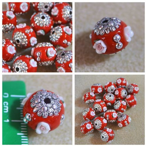 1 Red Flower Indonesia Bead