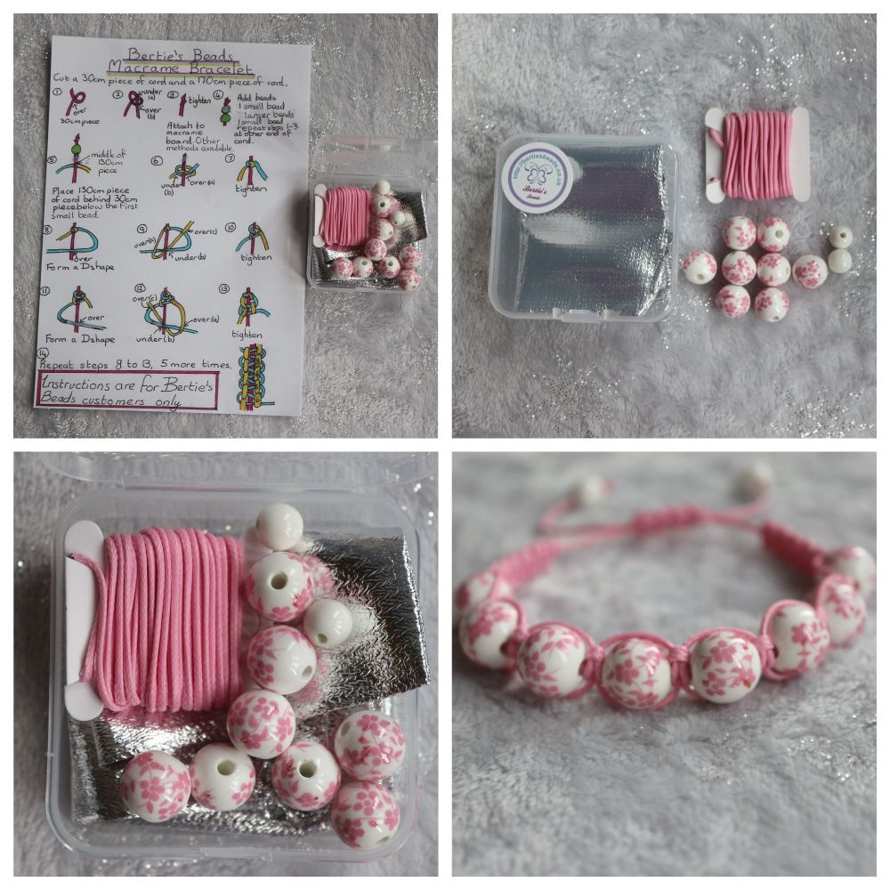 DIY Macrame Bracelet Pink Bead Kit