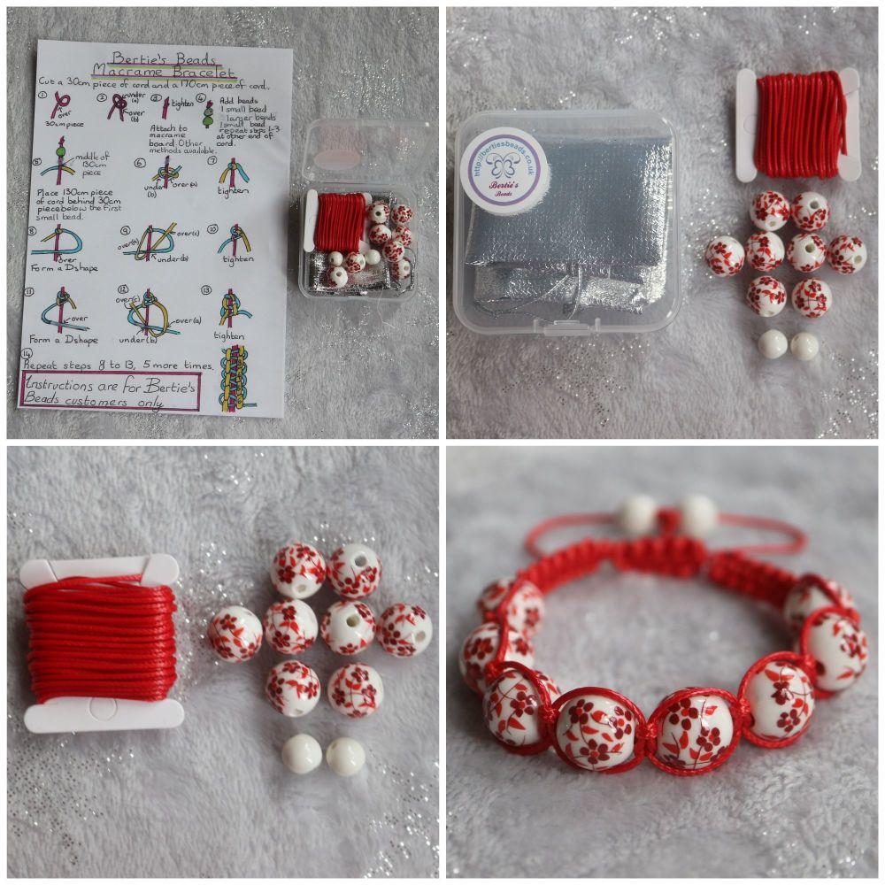 DIY Macrame Bracelet Red Bead Kit
