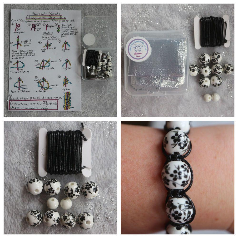 DIY Macrame Bracelet Black Bead Kit