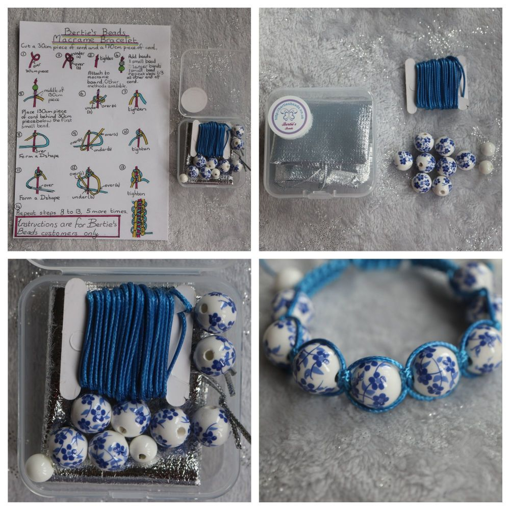 DIY Macrame Bracelet Blue Bead Kit