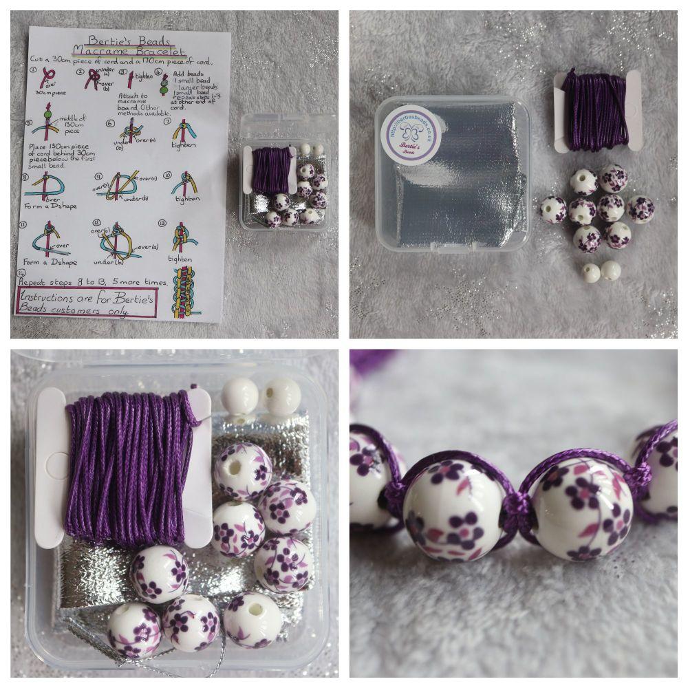 DIY Macrame Bracelet Purple Bead Kit