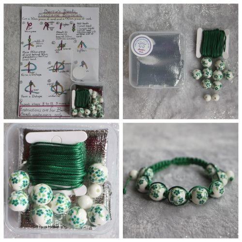 DIY Macrame Bracelet Green Bead Kit