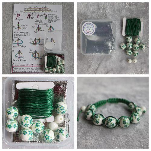 DIY Macrame Bracelet Green Bead Kit