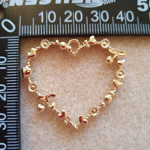 Heart with Flowers Bezel Pendant
