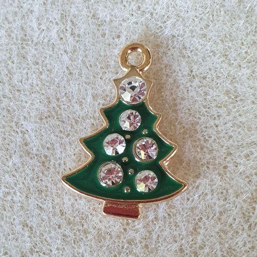 Green Rhinestone Christmas Tree