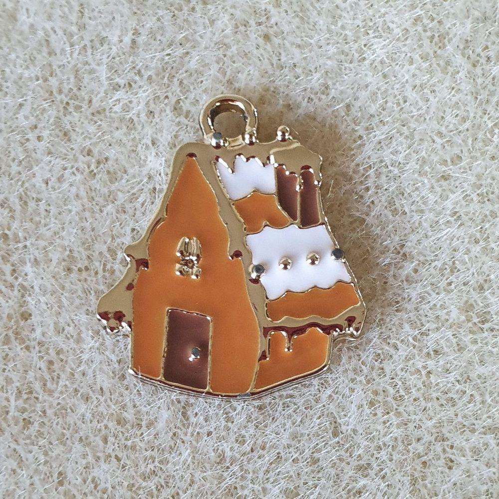 Snowy House Brown Pendant
