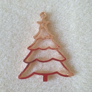 Christmas Tree Open Back Bezel Pendant