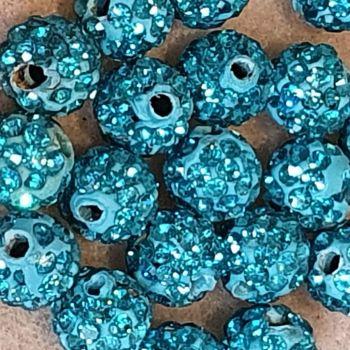 Disco Pave 8mm Bead Aquamarine