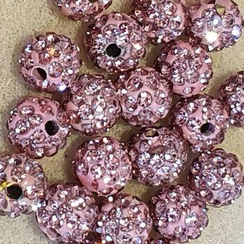 Disco Pave 8mm Bead Light Rose