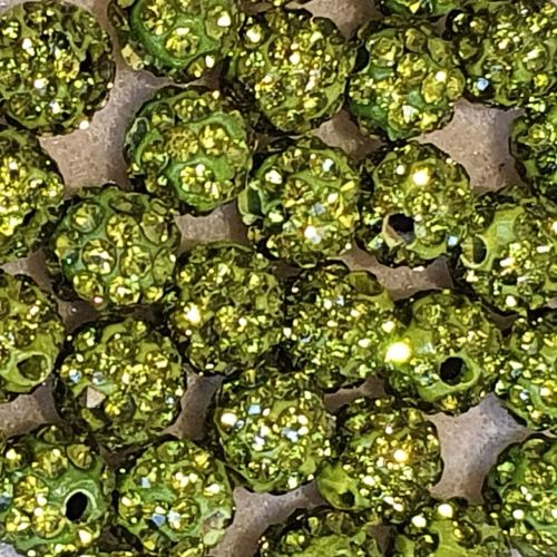 Disco Pave 8mm Bead Olivine