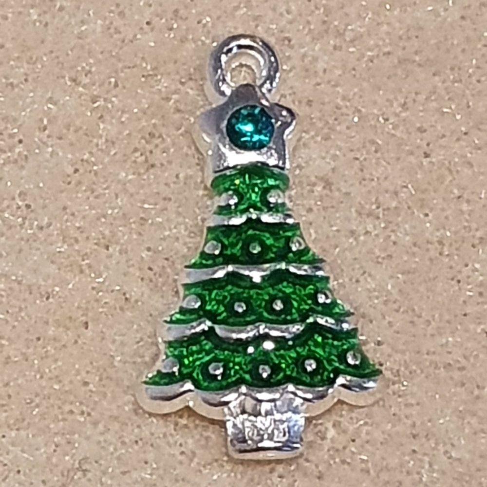 Christmas Tree Rhinestone Pendant